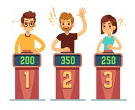 People answering questions and pressing buttons on quiz show. Conundrum game competition vector concept. Illustration of game competition, quiz intelligent Royalty Free Stock Image