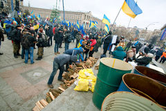 People on the anti-government demonstration occupide main Maidan square in Kyiv Royalty Free Stock Photos