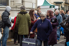 People at Anti UKIP market stall in Thanet South. People at an Anti UKIP and Farage busy stall in Ramsgate, Thanet South during the General Election campaign in Royalty Free Stock Photography
