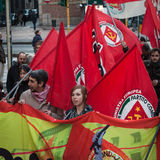 People during an antifascist march in Milan, Italy Stock Images