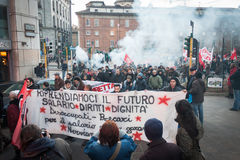 People during an antifascist march in Milan, Italy Stock Image