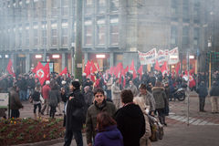 People during an antifascist march in Milan, Italy Royalty Free Stock Images