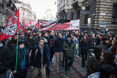 People during an antifascist march in Milan, Italy Royalty Free Stock Photo