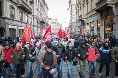 People during an antifascist march in Milan, Italy Royalty Free Stock Photos
