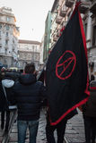 People during an antifascist march in Milan, Italy Stock Photos