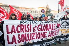 People during an antifascist march in Milan, Italy Stock Photography