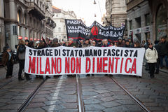 People during an antifascist march in Milan, Italy Stock Photo