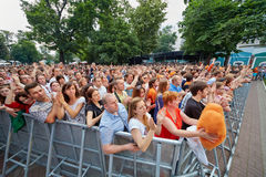 People applaud at concert of Chaif rock-band Royalty Free Stock Image