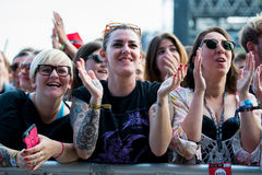 People applauding in a concert at Primavera Sound 2015 Royalty Free Stock Photo
