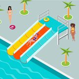 People at aqua park. Vector illustration flat design royalty free illustration