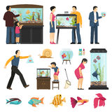 People And Aquaria Set Royalty Free Stock Photography
