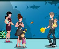 People in aquarium with children looking at fishes. Vector illustration Stock Photos