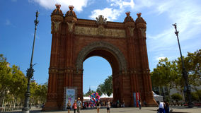 People at Arc de Triomf monument in Barcelona, Spain Royalty Free Stock Image