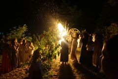 Free People Are Dancing Around The Fire On The Feast Of Ivan Kupala. Ancient Slavonic Custom. Royalty Free Stock Images - 189125579