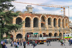 People in the area near Verona Arena, Italy Stock Photos