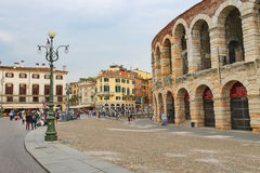 People in the area near Verona Arena, Italy Royalty Free Stock Photo