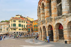 People in the area near Verona Arena, Italy Royalty Free Stock Photos