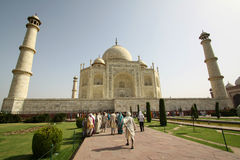 People in the area of the Taj Mahal, one of the Seven Wonders of the World Royalty Free Stock Photography