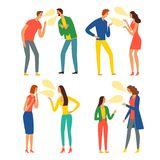 Angry people argue set. People argue set. Angry men and women shouting. Cartoon illustration for your design stock illustration