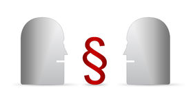 People arguing over dollars. Conceptual illustration of two figures looking at each other with red dollar signs in middle or center, isolated on white background Stock Photos