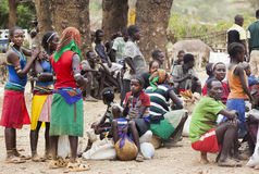 People from Ari tribe at village market. Bonata. Omo Valley. Eth Royalty Free Stock Images