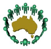 People around Australia map. Abstract people around Australia map illustration Stock Photo