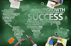 People Around Blackboard With Global Success Stock Image