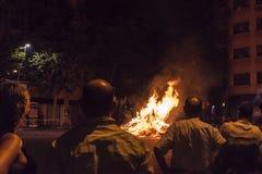 People around a bonfire, Barcelona Stock Image