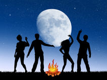 People around the bonfire. Illustration of people around the bonfire in the night Stock Images
