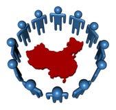 People around China map Royalty Free Stock Photos
