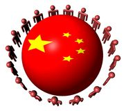 People around Chinese flag sphere Stock Photo