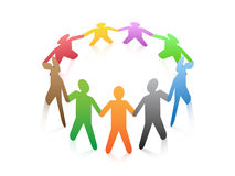 People around a circle vector illustration