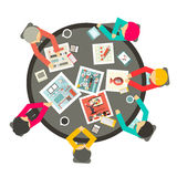People Around the Circle Table. Vector Business Meeting Top View Illustration Stock Photography