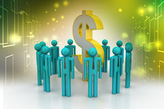 People around dollar sign Royalty Free Stock Images