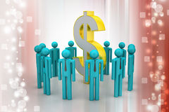 People around dollar sign Royalty Free Stock Photos
