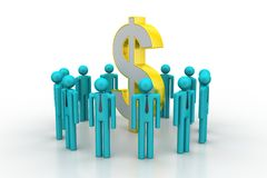 People around dollar sign Royalty Free Stock Photography