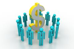 People around dollar sign Royalty Free Stock Image