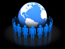 People around earth. Abstract 3d illustration of people around earth globe, over black background Stock Photo