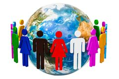 People around the Earth Globe, 3D rendering. Isolated on white background Royalty Free Stock Image
