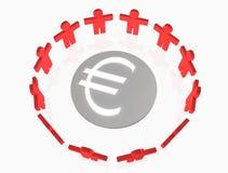 People around Euro sumbol Stock Photo