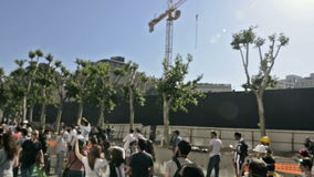 People around Gezi Park waiting to enter the park after protesters occupy Gezi Park. stock video