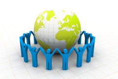 People around the globe. 3d render of people around the globe Royalty Free Stock Image