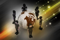 People around a globe representing social networking Royalty Free Stock Photos