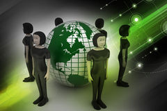 People around a globe representing social networking Stock Photos