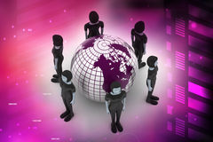 People around a globe representing social networking Stock Images