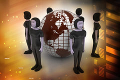 People around a globe representing social networking Stock Photo