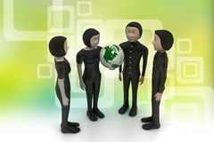 People around a globe representing social networking Royalty Free Stock Image