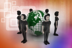 People around a globe representing social networking Royalty Free Stock Images