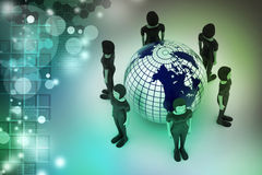 People around a globe representing social networking Stock Image