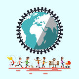 People Around Globe. Retro Flat Design Vector Illustration Stock Image